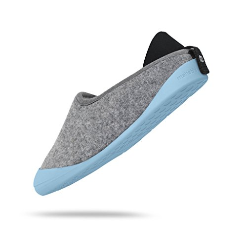 mahabis Larvik Light Grey Classic Slippers with Borgen Blue Sole in Size 10 UK Men tFf6z7GA5