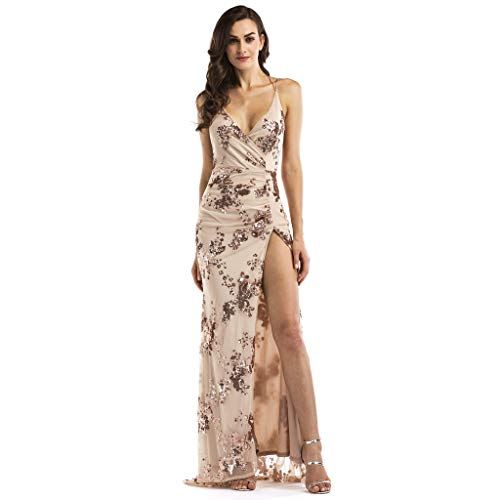 Toaimy Sexy Women V Neck Maxi Sequin Halter Backless Split Cocktail Prom Gown ()