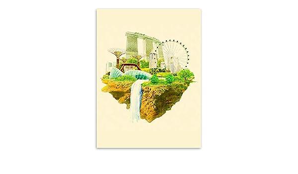 baodanla (sin Marco) Ciudad Simple Sala Comedor decoración Cartel Pintura núcleo 7 Pintura núcleo 40 * 50 cm: Amazon.es: Hogar