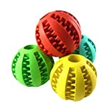 Freerun Durable Non-Toxic Tooth Cleaning Dog Toy Balls for Pet Trainging Playing Chewing Soft Rubber - Bouncy - Tennis Ball - Size 2.8 Inch (Random Color)