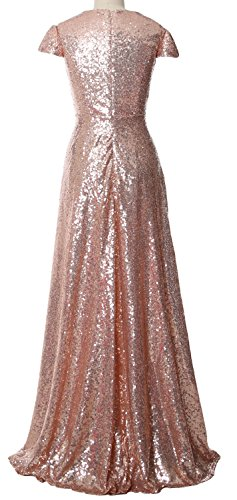 Dress Women Bride Gown the Mother Champagner Long of Bridesmaid Sleeves Sequin Cap MACloth BpqdPTP