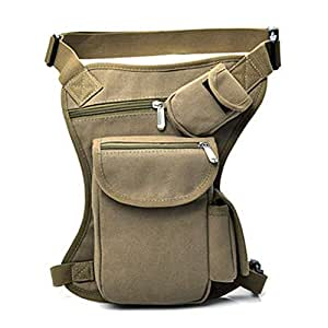 AMAZACER Canvas Waist Leg Pack, Outdoor Sports Camouflage Cycling Bag Portable Multi-Pocket Useful Backpack (Color : Khaki)