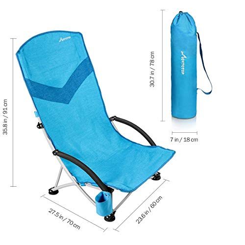 MOVTOTOP Folding Beach Chair, 【Newest 2019】 Portable Outdoor Backpack Camping Chair, High Back Rest Beach Chairs with Carry Bag Heavy Duty 300 lbs Capacity