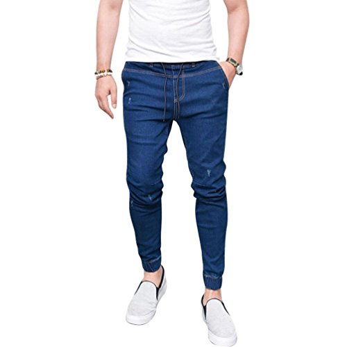 Yying Hombre Vaqueros Largo - Cómodo Cintura Elástica Straight Fit Casual Jeans Rotos Moda Cintura Media Slim Fit Denim Pantalones Azul