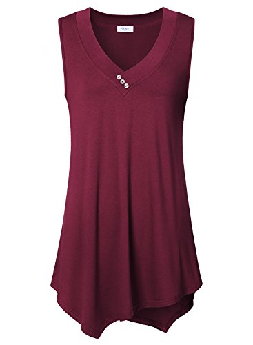 Flowy Tank Tops For Women, Ca Kra Women's Summer Lightweight V Neck Sleeveless Tank Tops Tunics Medium, Wine Red ()