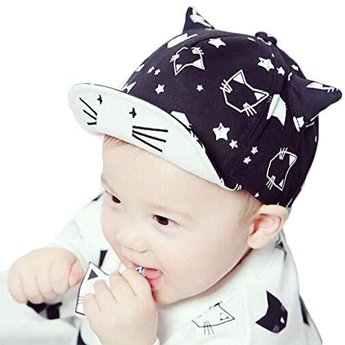 DANMY Baby Boy Baseball Cap Striped Sunhat Girl Brim Sun Protection Bow Hat (ox Horn- Black)
