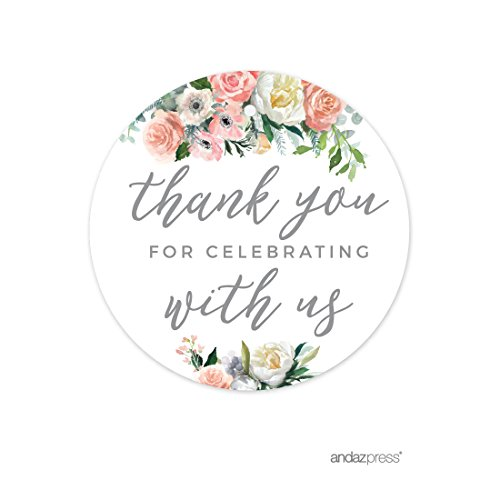 Andaz Press Peach Coral Floral Garden Party Wedding Collection, Round Circle Gift Tags, Thank You for Celebrating with US, 24-Pack