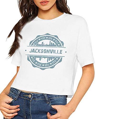 X-JUSEN Women's Jacksonville North Carolina Short Sleeve Bare Midriff Cotton T Shirts Pullover Tee, Sexy Crop Tops (Midriff Sexy Costume)