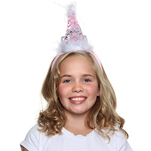 Girls Birthday Party Princess Tiara Cone Hat Headband, (Fancy Birthday Hats)