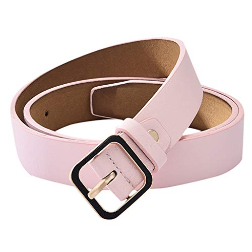 (Women Men Leather Belt Comfort Elegant Solid Color Classic Fashion Dress Band With Single Buckle (Pink B))