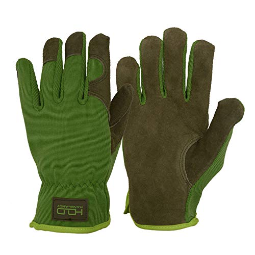 - Men Women Leather Gardening Gloves, Utility Work Gloves for Mechanics, Construction, Driver, Dexterity Breathable Design (Medium)