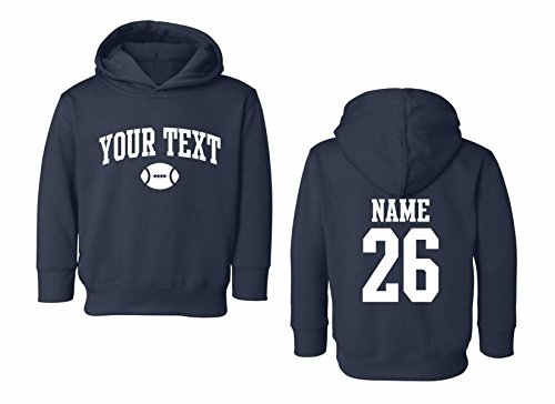 Arched Sweatshirt - Toddler Hooded Sweatshirt Custom Personalized, Football Arched Text, Back Name & Number