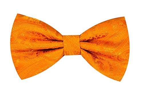 Oliver George Paisley Pre-Tied Bow Tie (Bright Orange)