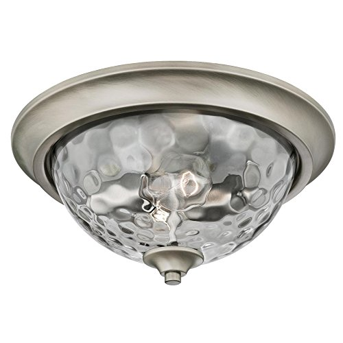 Westinghouse Lighting 6326700 Basset Two-Light Indoor Flush-Mount Ceiling Fixture, Dark Pewter Finish with Smoke Grey Hammered Glass, 2 (Pewter Dimmer)