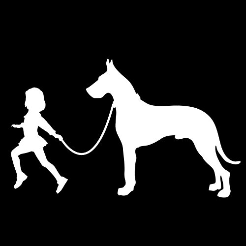 Girl Leading A Great Dane Dog Vinyl Decal Sticker | Cars Trucks Vans SUVs Laptops Walls Windows Cups | White | 7 X 4.2 | KCD2136