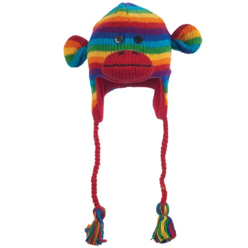 Animal World - Rainbow Stripe Sock Monkey Peruvian Knit Hat Multi -
