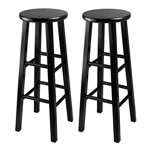 Winsome 29-Inch Square Leg Bar Stool, Black, Set of 2 (Renewed)