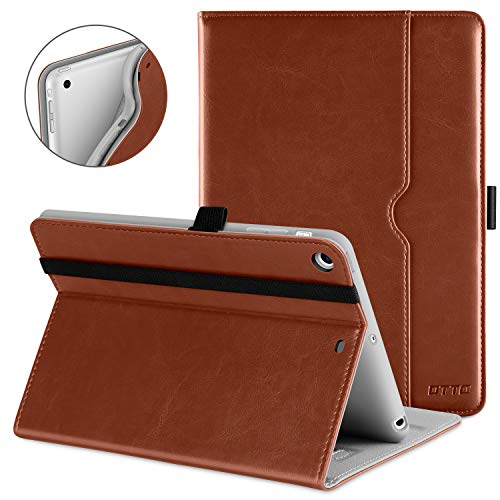 DTTO iPad Mini 1 2 3 Case, Premium Leather Folio Stand Cover Case with Multi-Angle Viewing and Auto Wake-Sleep Function, Front Pocket for Apple iPad Mini 1/Mini 2/Mini 3 - Brown (Best Leather Ipad 3 Case)