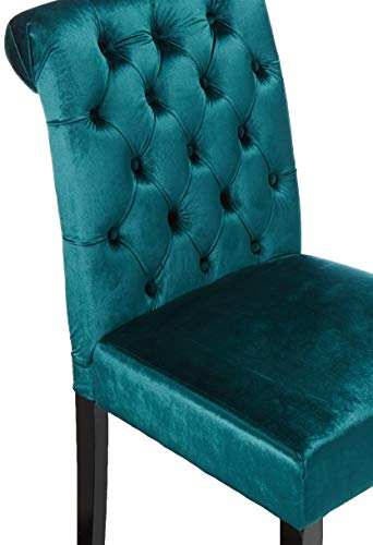 Christopher Knight Home 302603 Deanna Tufted Teal Velvet Dining Chair with Roll Top (Set of 2), - 4
