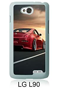 Lovely And Unique Designed Case For LG L90 With Nissan 350Z Red White Phone Case