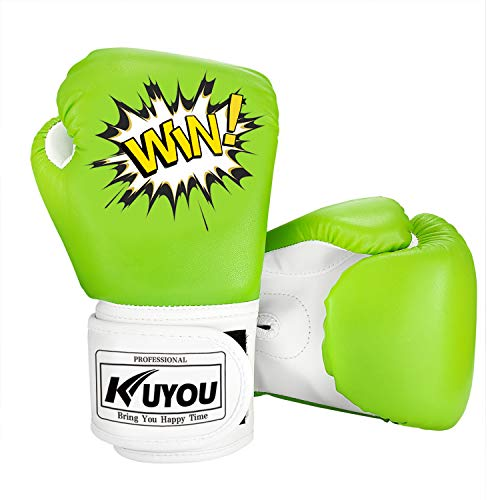 KUYOU Kids Boxing Gloves, Pu Kids Children Cartoon Sparring Boxing Gloves Training Age 5-12 Years (Green) -