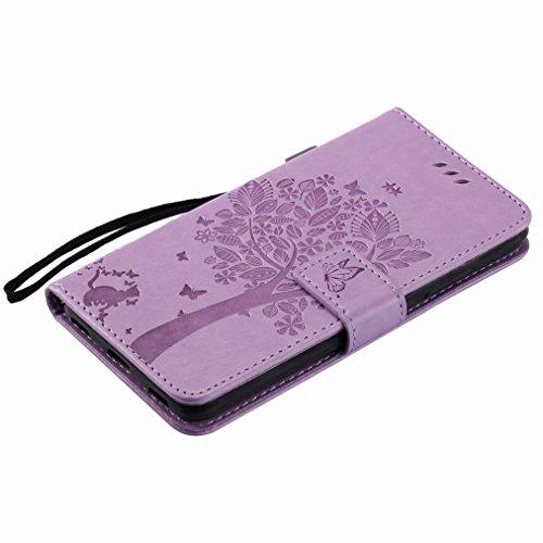 Yiizy Huawei Honor 5C / Honor 7 Lite / GT3 Custodia Cover, Albero e Gatti Goffratura Design Sottile Flip Portafoglio PU Pelle Cuoio Copertura Shell Case Slot Schede Cavalletto Stile Libro Bumper Prote