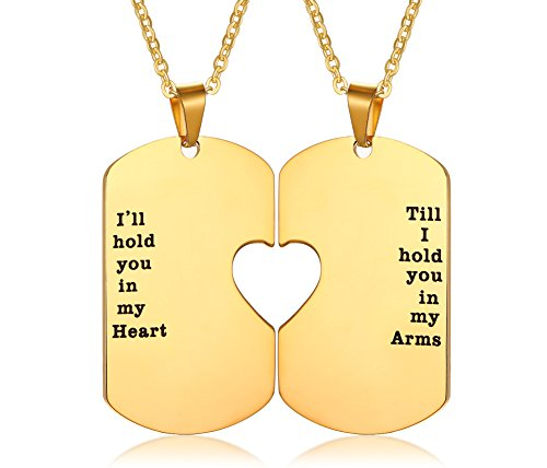 Gold Jewelry Heart Tag - PJ Stainless Steel I'll Hold You in My Heart Puzzle Piece Heart Matching Couple Dog Tag Necklace