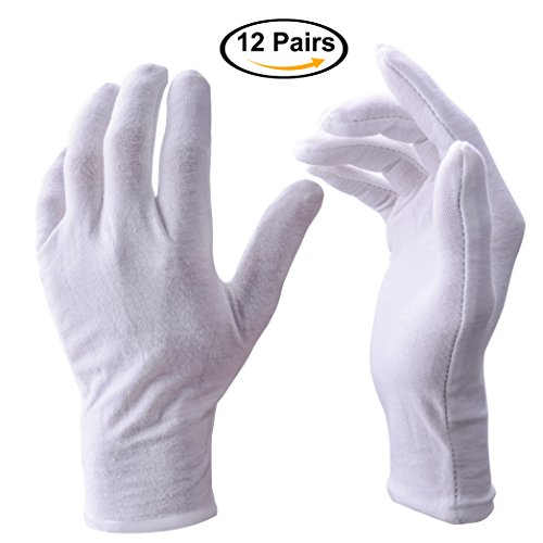 Large White Cotton Gloves (Zealor 12 Pairs White Cotton Gloves, Coin Jewelry Silver Inspection Gloves, Large)