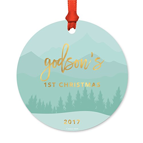 Andaz Press Family Metal Christmas Ornament, Godson's 1st Christmas 2018, Aqua Golden Winter Wonderland Forest, 1-Pack, Includes Ribbon and Gift Bag -