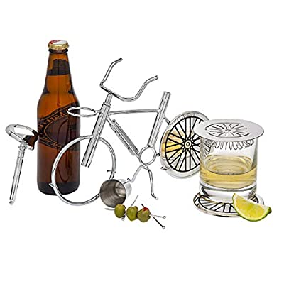 Godinger Bicycle Barware Bar Tool Set - Includes Jigger, Corkscrew, Bottle Opener, Coasters, Strainer, Picks