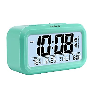 Peakeep Easy Set Smart Light Activated Alarm Clock With Snooze Function, Calendar, Date, Week, Month, Temperature Display