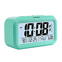 Peakeep Digital Alarm Clock 2 Alarms Optional Weekday Mode, Snooze, Smart Nightlight, Battery Operated Only (Mint Green)