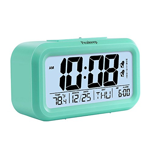 Peakeep Battery Digital Alarm Clock with 2 Alarms, Snooze, Optional Weekday Alarm and Sensor Light (Mint Green)