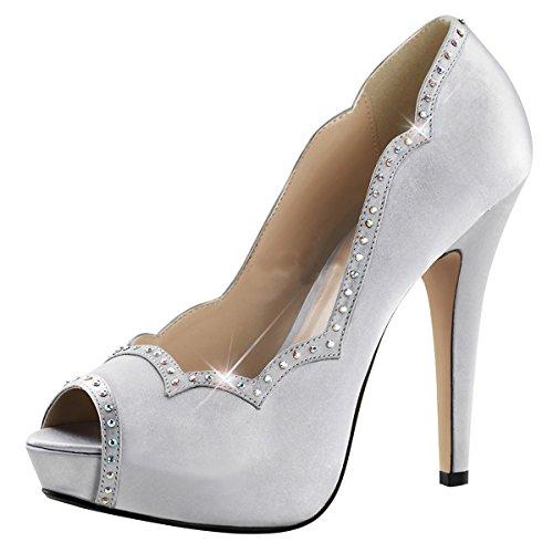 Heels-Perfect - Zapatos de vestir de Material Sintético para mujer Plateado - Silber (Silber)
