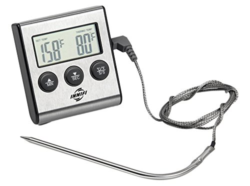 Innifi Digital Cooking Kitchen Food Meat Thermometer and Hygrometer with Cook Timer and Stainless Steel Probe for BBQ, Oven, Grill and Smoker, Easy Use and Instant Read