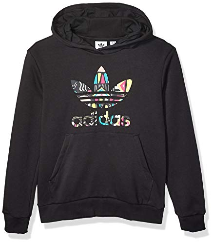 adidas Originals Kids' Big Juniors Hooded Sweatshirt, black/Multi, X-Large