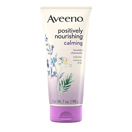 - Aveeno Positively Nourishing Calming Body Lotion with Lavender, Chamomile, Soothing Oatmeal & Shea Butter, Daily Moisturizing Lotion for All-Day Hydration & Dry Skin Relief, 7 oz