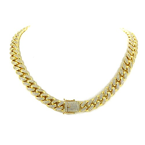 12mm Miami Cuban Link Chain - 25ct TW VVS Lab Diamonds - 14k Gold Plated Stainless Steel - Iced Out Bling (24)