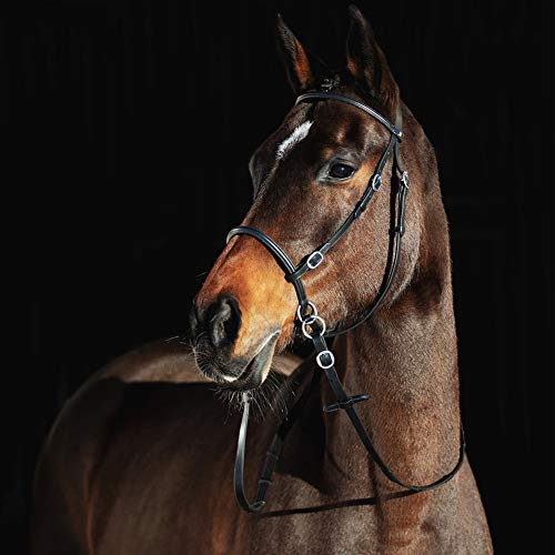 HORZE Leather Bitless Bridle - Horse, Black(BL)