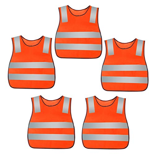 Kids Reflective Vest High Visibility Breathable Vest Bright Color Safety Vest Lightweight Traffic Vest Construction Worker Vest Neon Orange with Reflective Straps 5PCS (Safety Lights Vests)