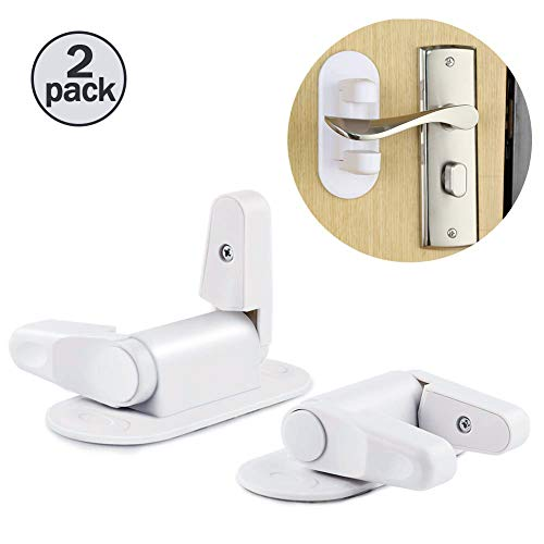 Makone Door Lever Lock Child Safety Door Proof Lock Handle Upgraded 3M Adhesive Pets Protective Door Lock 2-Pack (White)