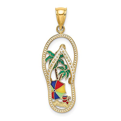 14k Yellow Gold Enamel Palm Tree Beach Scene Flip Flop Pendant Charm Necklace Sea Shore Sal Fine Jewelry Gifts For Women For - Charm Necklace Flop Flip
