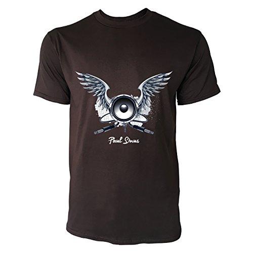 SINUS ART® Grunge Motiv mit Lautsprecher und Flügeln Herren T-Shirts in Schokolade braun Fun Shirt mit tollen Aufdruck