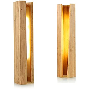 Trista99 Yellow Light LED Bedside Lamp USB Port Dimmable Bamboo Table Light  Stylish Wood Led Desk