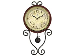 Geneva Wrought Iron Pendulum Wall Clock, Brown