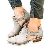 Kinrui Women Shoes Womens Chunky Low Heel Ankle
