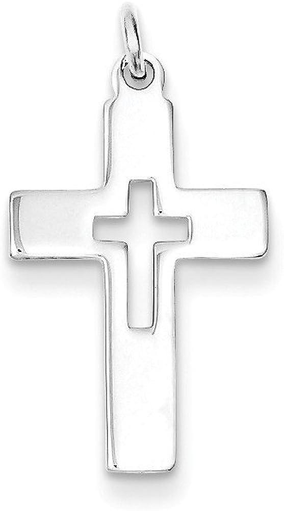 .925 Sterling Silver Latin Cross Charm Pendant