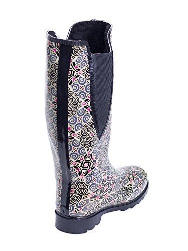 Faux Boots Lined Rubber Warm Fresca Fur Flowers Women's Rain PwBRFqz5xx