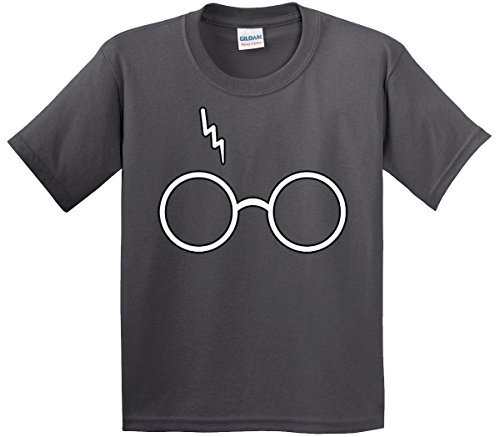 (New Way 836 - Youth T-Shirt Harry Potter Glasses Scar Lightning Bolt Small Charcoal)