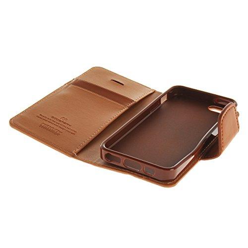 MOONCASE Case für iPhone 5G / 5S Leder Tasche Flip Schutzhülle Etui Cover Hülle Schale Braun